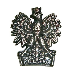 The Polish crowned eagle with Polska (Poland) at the base of this metal lapel pin.