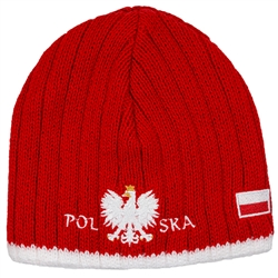 Display your Polish heritage!  Red stretch ribbed-knit skull cap, which features Poland's national symbol the crowned white eagle in white italic letters below.  Easy care acrylic fabric.  One size fits all.   Imported from Poland.