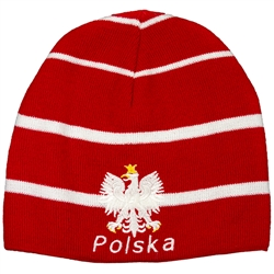 "Display your Polish heritage! White with red striped stretch ribbed-knit skull cap, which the Polish emblem under the word ""Polska"" (Poland). Easy care acrylic fabric. One size fits most. Imported from Poland."
