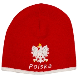 Display your Polish heritage! Red stretch knit skull cap, which features Poland's national symbol the crowned eagle above the word Polska (Poland). Easy care acrylic fabric. One size fits most. Imported from Poland.