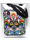 Large and colorful this large tote bag is fully lined and closes with a secure snap at the top. 100% polyester.