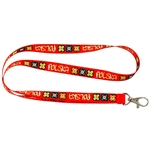 Red band imprinted with floral designs and the word Polska printed around.  Convenient metal lobster clip for hanging keys, ID, etc.