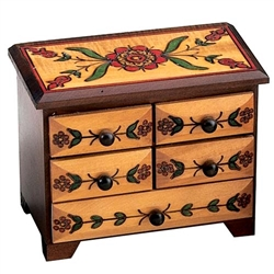 Elaborate carving on top & all sides. Footed base. Lacquered, 3-tone finish.