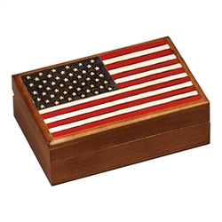 Accurate hand burned replica, featuring all 50 stars and 13 stripes. Hand stained, lacquered finish.