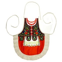 Delightful cooking apron with a Krakow costume design, This apron makes a perfect gift for anyone looking for an upscale kitchen accessory or gift.  It's also a great low cost alternative when you need to wear a Polish costume.  Great way to display you h