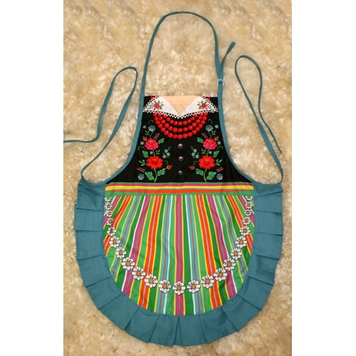 WHITE KITCHEN APRON WITH PATTERNS inspired by Polish Folk Art from Lowicz