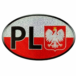 Medium size waterproof indoor/outdoor sticker perfect for a heritage room display or elsewhere. PL are the designated letters for Poland in Europe. This is a nice thicker sticker.