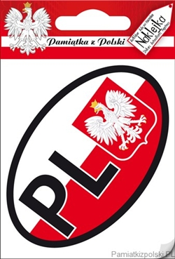 Plastic sticker for your car bumper.  PL are the designated letters for Poland in Europe.