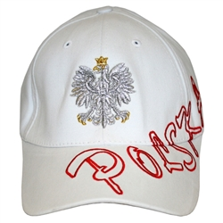 Stylish white cap with silver and gold color thread embroidery.  The front of the cap features a silver Polish Eagle with gold crown and talons. Polska is embroidered in red thread around the front.  Features an adjustable cloth and metal tab in the back.