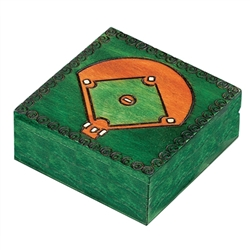 Hand carved and stained with a Baseball diamond on lid;