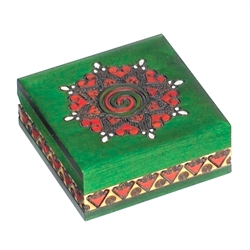 This colorful box features a spiral, star and heart design accented with silver paint.