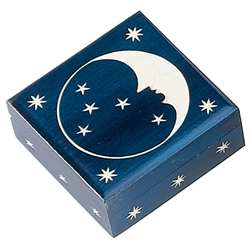 Hand carved moon and stars decoration. Deep blue, high gloss finish.