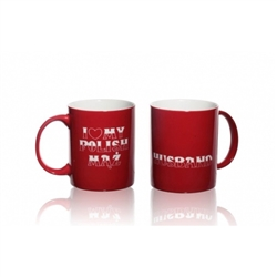 This attractive ceramic mug is decorated in the colors of the Polish flag, red and white.