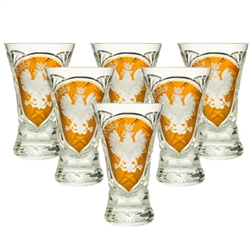 Genuine Polish 24% lead crystal hand cut and engraved with the Polish Eagle and the word Polska.  Set of 6.