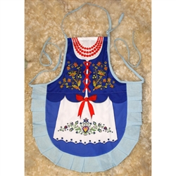 Delightful cooking apron with a colorful authentic Kashub costume design, This apron makes a perfect gift for anyone looking for an upscale kitchen accessory or gift.  It's also a great low cost alternative when you need to wear a Polish costume.