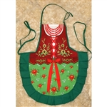 Delightful cooking apron with a colorful authentic Goralka (Podhale mountain) costume design, This apron makes a perfect gift for anyone looking for an upscale kitchen accessory or gift.  It's also a great low cost alternative when you need to wear a Poli