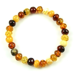 "Delicate 7"" - 18cm Bracelet composed of milky, honey, and cherry shades of round Baltic Amber beads.