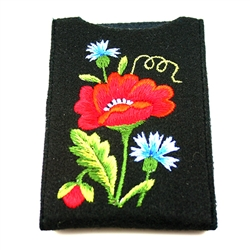 "Soft black felt sewn case with hand Lowicz styl embroidered flowers on one side. Beautiful and functional. . Designed to fit standard cell phones. Size - 3.25"" x 5.25"" - 8cm x 13cm - Interior size 3"" x 4.75"" - 7.5cm x 12cm. The IPhone measuring 3"" x 4.5"""