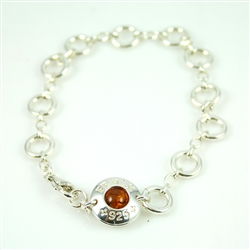 Sterling Silver Bracelet With Amber Center