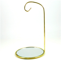 "Very nice brass finish ornament stand with a mirror base. Suitable for hanging ornaments up to 6"" - 15cm tall. Base is 5.5"" -14cm in diameter."