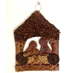 Handmade hanging Christmas manger scene. Made in Warsaw by a master baker this manger is intended for display (hanger included). Enclosed in a hand made presentation box our creche is packed nestled on a bed of sianko (Christmas hay).  Two sizes available