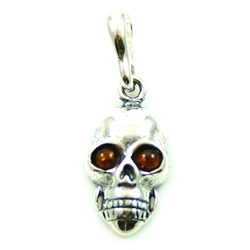 Baltic Amber Beads in Sterling Silver skull.
