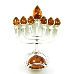 This beautiful sterling silver pendant is highlighted with cognac colored amber.