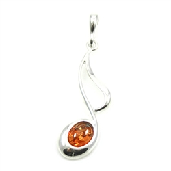Musical Note Amber And Silver Pendant