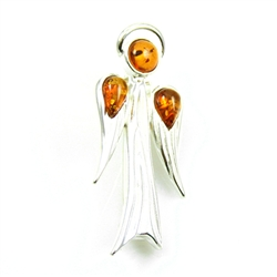 "Lovely silver angel studded with three drops of golden amber.  Size .5"" x 1.25"" - 1.5cm x 3.5cm."