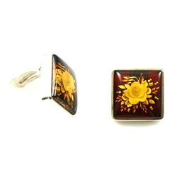 Clip on Amber Earings - Square Cameo