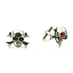 This silver skull and crossbones set have golden eyes of amber.