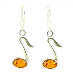 Musical Note Earrings - Honey Amber