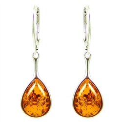 Honey Amber Teardrop Earrings, with a sterling silver saftey-closure loop. Amber is soft, only slightly harder than talc, and should be treated with care.