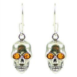 Amber And Silver Skull Earrings