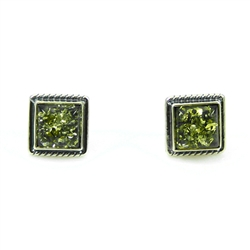 Large Square Green Amber Earrings With Roping Detail