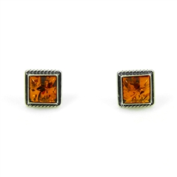 Large Square Honey Amber Earrings With Roping Detail
