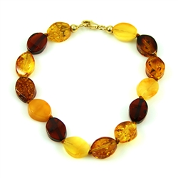 Multi-Colored Knotted Amber Bracelet