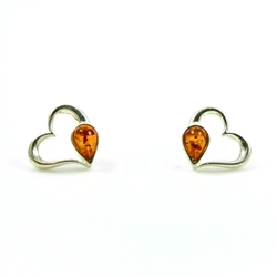Heart Shaped Silver And Amber Earrings