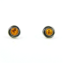 Oval Swirl Silver And Honey Amber Stud Earrings
