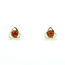 Honey Amber Oval Stud Earrings Inside A Celtic Knot