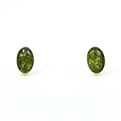 Green Amber Oval Earrings