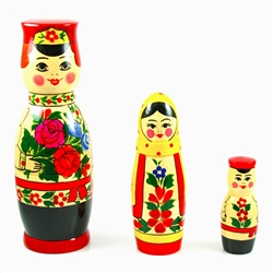 This cute 3 piece nesting doll is from the village of Semyonov, Each of the pieces are brightly painted and cheerfully drawn. The tallest boy is 8 inches tall. The boy doll opens to a boy, then a smaller boy.