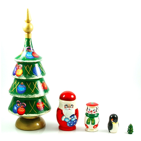 polish art center christmas tree nesting doll set of 5 8 5 tall