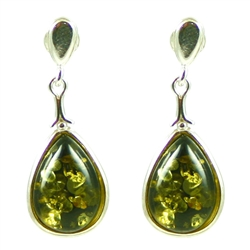 Green Amber Teardrop Stud Earrings. Amber is soft, only slightly harder than talc, and should be treated with care.