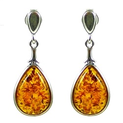Honey Amber Teardrop Stud Earrings. Amber is soft, only slightly harder than talc, and should be treated with care.