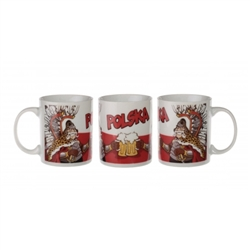 Humorous ceramic Polish mug which features two Polish Winged Husars in a toast.  Our picture show the three sides of this colorful mug.  The background is the Polish flag.