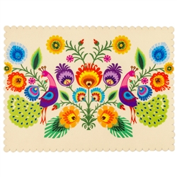Die cut with scalloped edging and plasticized on top this gorgeous cloth place mat features a beautiful example of a Polish paper cut (wycinanka)