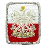 Embroidered white eagle on a red and white background with Polska (Poland) on a lower scroll.
