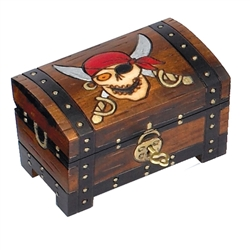 There be pirates here! This chest style box with a footed base is decorated as a pirate's treasure chest complete with painted lock and pirate skull with crossed scimitars behind it. Lock and key