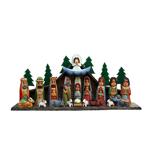 Hand Carved Traditional Nativity Scene